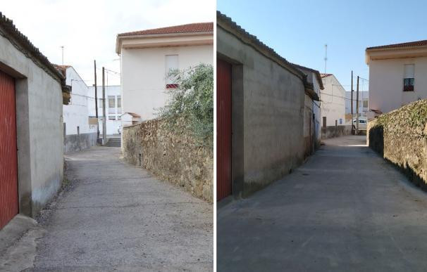 Una de las calles arregladas en Plasenzuela por el Plan Activa de la Diputación de Cáceres