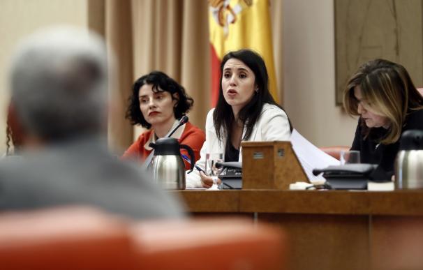 Irene Montero, durante su comparecencia en el Congreso