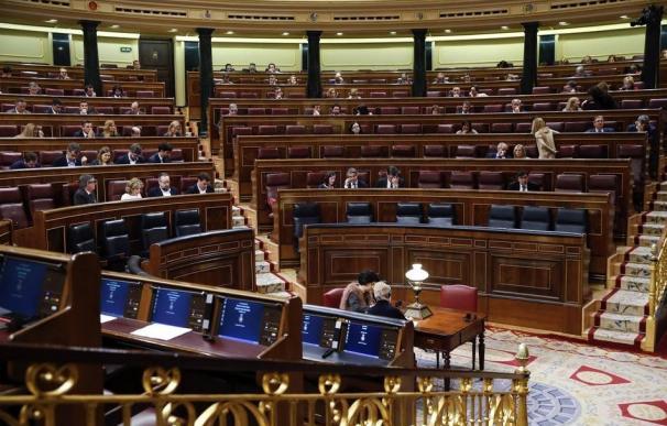 Fotografía del Congreso de los Diputados casi vacío