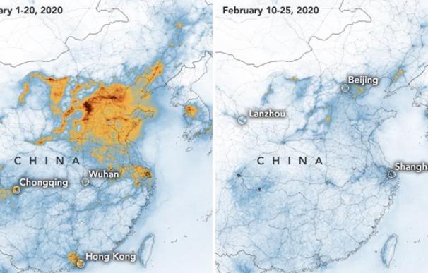 NASA coronavirus mapa China contaminación