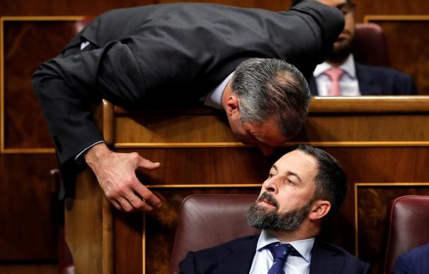 El presidente de Vox, Santiago Abascal, escucha a su compañero de grupo, Javier Ortega Smith (i), en el Congreso de los Diputados. /EFE