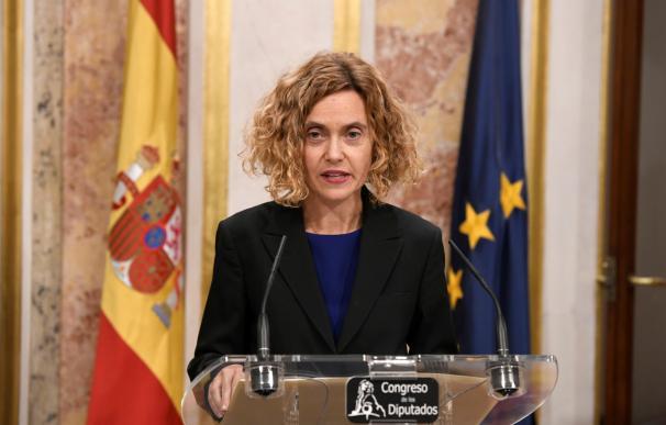Rueda de prensa de Meritxell Batet tras la audiencia con Felipe VI. /EFE