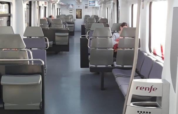 Tren de Rodalies vacío tras el estado de alarma por el coronavirus