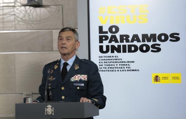 El JEMAD, Miguel Ángel Villarroya, durante una de sus intervenciones en Moncloa