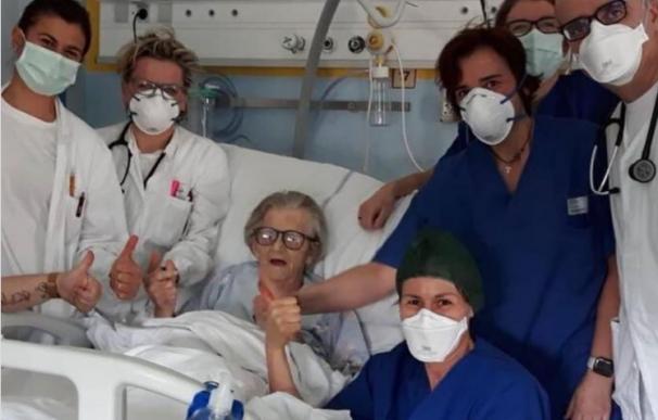 Fotografía de Alma Clara Corsini, la mujer de 95 años que superó el coronavirus en Italia.