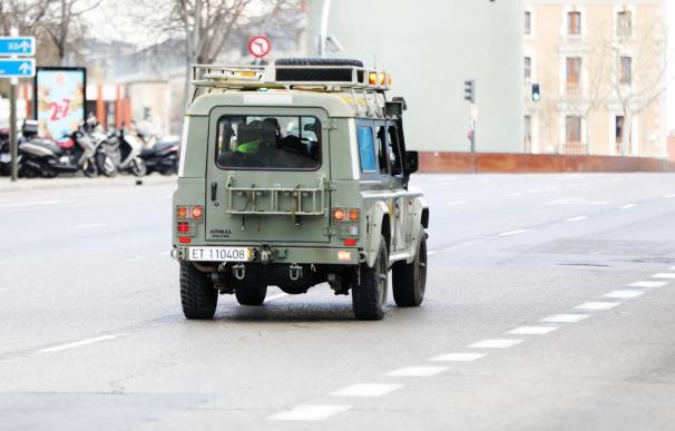 Militares de la UME se deslplegan en Madrid el 15 de marzo de 2020