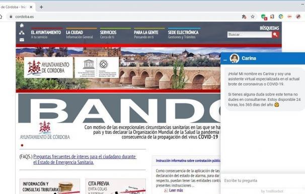 Web del Ayuntamiento de Córdoba con el 'chatbot'.
