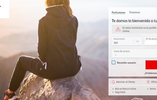 La banca online del Santander caída