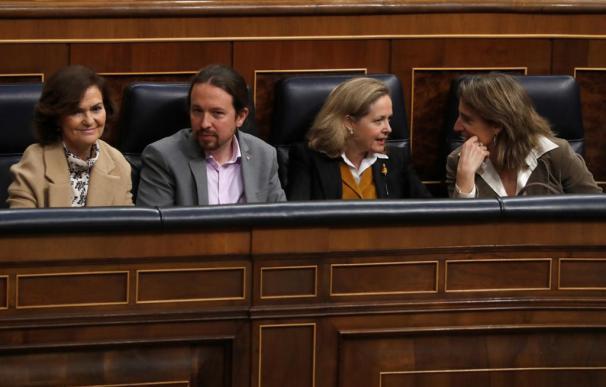 Pablo Iglesias Nadia Calviño Carmen Calvo Teresa Ribera