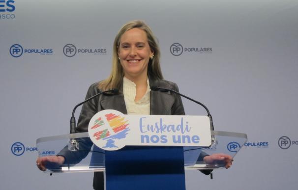 La secretaria general del PP vasco, Amaya Fernández, en rueda de prensa en Bilbao