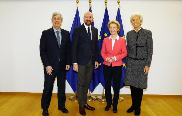 Centeno, Michel, Von der Leyen y Lagarde.