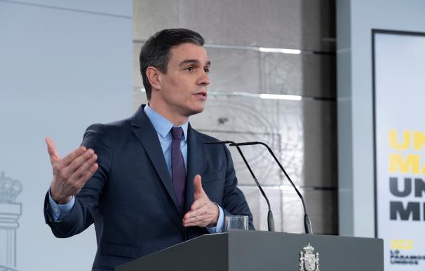 Pedro Sánchez durante una comparecencia en Moncloa