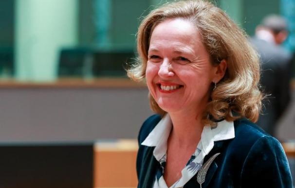 La ministra española de Economía, Nadia Calviño, en una reunión del Eurogrupo, en Bruselas, Bélgica. EFE/Archivo