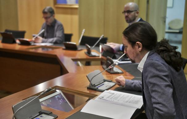 Iglesias en la videoconferencia con Pepe Álvarez