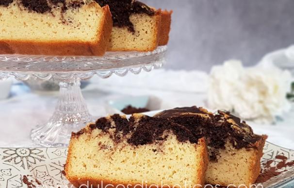 Fotografía del bizcocho de vainilla y chocolate de 'Dulces Diabéticos'.