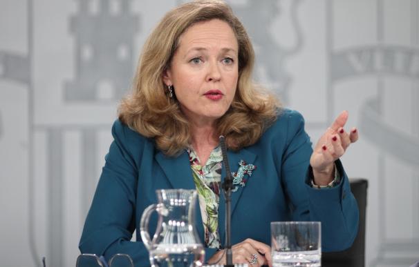 la vicepresidenta tercera y ministra de Asuntos Económicos y Transformación Digital, Nadia Calviño durante la rueda de prensa tras el Consejo de Ministros en Moncloa, en Madrid (España), a 11 de febrero de 2020.