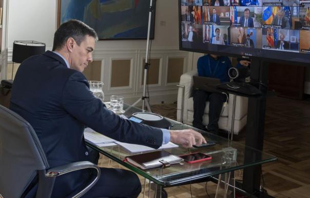 Pedro Sánchez, en videoconferencia / EP
