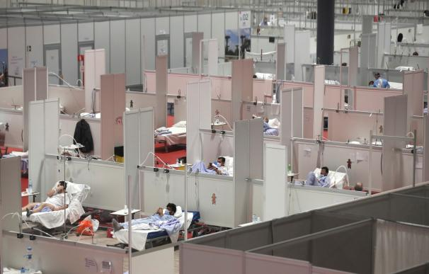 Vista general del pabellón 9 de IFEMA, donde se encuentra instalado el hospital temporal para tratar a enfermos de coronavirus