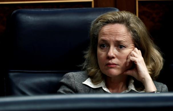 Nadia Calviño en el Congreso de los Diputados