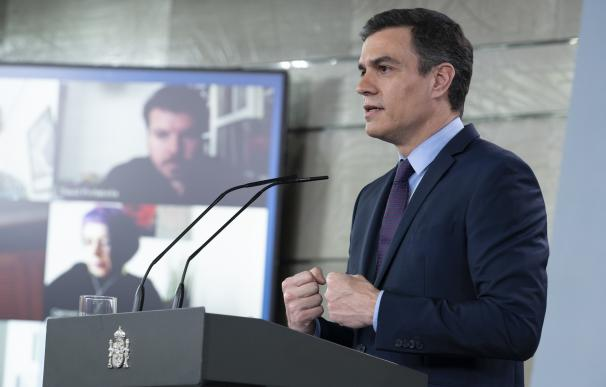 El presidente del Gobierno, Pedro Sánchez, durante una rueda de prensa , en Madrid (España) a 12 de abril de 2020. - Moncloa
