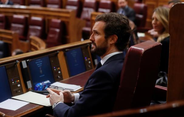 El líder del PP, Pablo Casado, durante la sesión de control al ejecutivo celebrada este miércoles en el Congreso