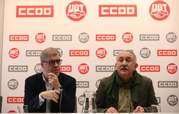 Unai Sordo y Pepe Álvarez, CCOO y UGT