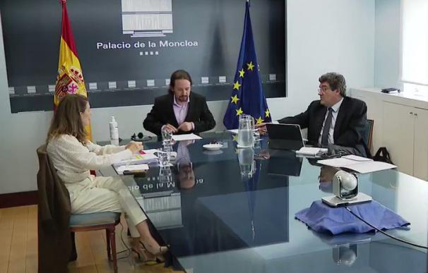 Pablo Iglesias, Yolanda Díaz y José Luis Escrivá