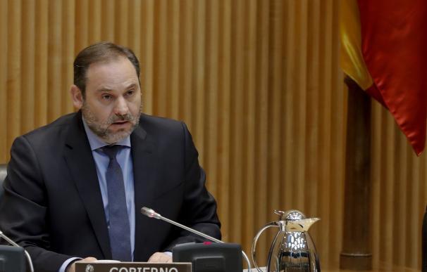 El ministro de Transportes, Movilidad y Agenda Urbana, José Luis Ábalos, ha comparecido este lunes ante la comisión correspondiente del Congreso. EFE/Ballesteros POOL