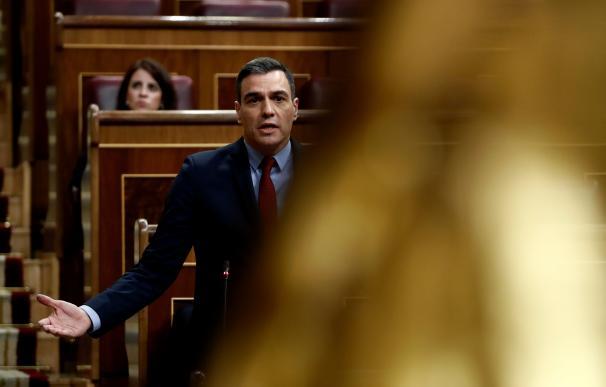 El presidente del Gobierno, Pedro Sánchez, durante una de sus intervenciones en el pleno celebrado este miércoles en el Congreso. /EFE/Pool/Mariscal