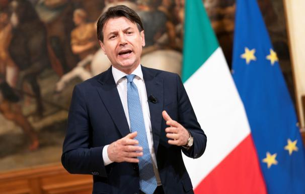 El presidente de Italia, Giuseppe Conte, en una intervención pública