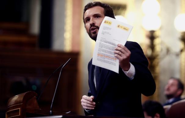 El líder del PP, Pablo Casado, durante su comparecencia en el pleno celebrado este miércoles en el Congreso