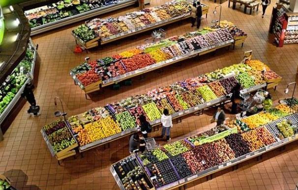 Sección de frutas y verduras de un supermercado