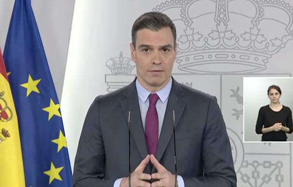 Pedro Sánchez en comparecencia