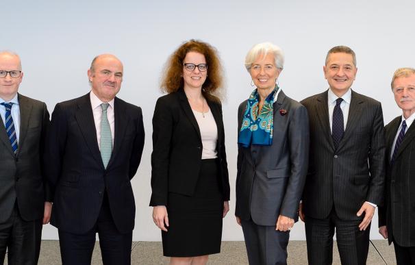 El consejo ejecutivo del BCE: Lane, Guindos, Schnabel, Lagarde, Panetta y Mersch.