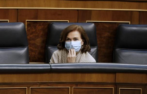 Carmen Calvo, mascarilla, Congreso de los Diputados