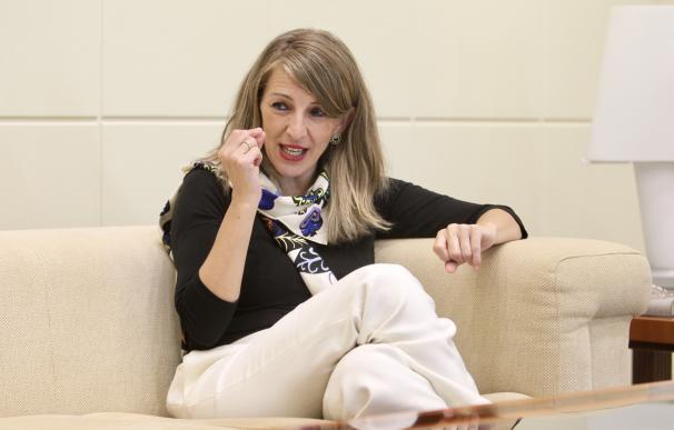 La ministra de Trabajo, Yolanda Díaz, durante la entrevista