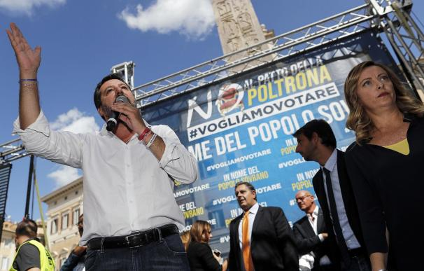 Matteo Salvini, durante las protestas frente a la Cámara de Diputados