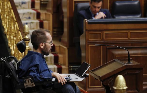 Pablo Echenique durante la sesión de control en el Congreso de los Diputados
