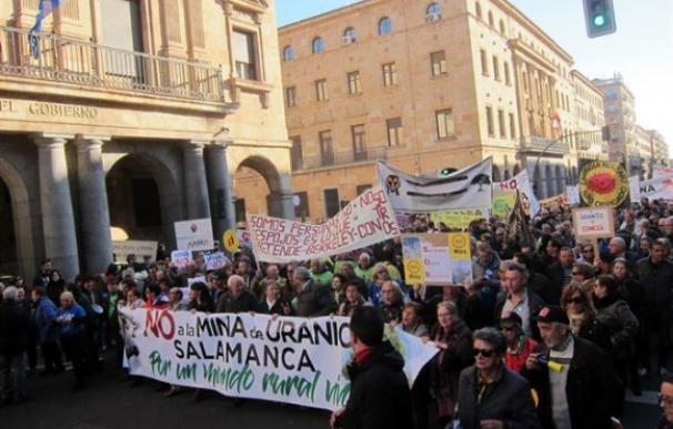 Manifestación contra la mina de uranio en Salamanca en el año 2018.