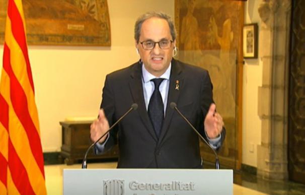 El presidente de la Generalitat, Quim Torra, en la rueda de prensa posterior a la novena reunión de presidentes autonómicos, a 10 de mayo de 2020.