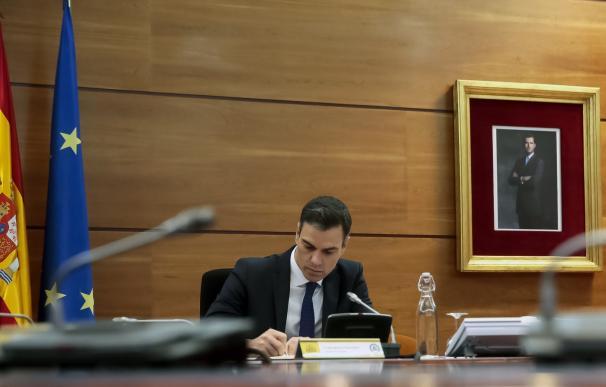 El presidente del Gobierno, Pedro Sánchez,en una de las reuniones del Gobierno en Moncloa