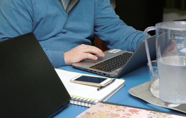 Fotografía de un empleado teletrabajando.