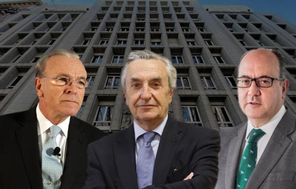 Isidro Fainé, José María Marín Quemada y José María Roldán, presidentes de CECA, CNMC y AEB, respectivamente.