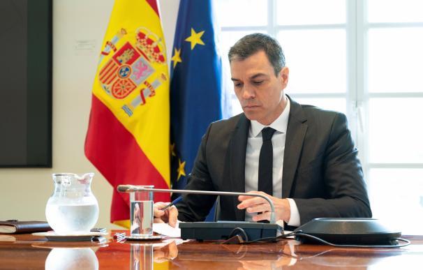 El presidente del Gobierno, Pedro Sánchez, en la videconferencia de este domingo con las CCAA