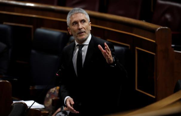El ministro del Interior, Fernando Grande Marlaska, durante una de sus intervenciones en la sesión de control al Ejecutivo. /EFE
