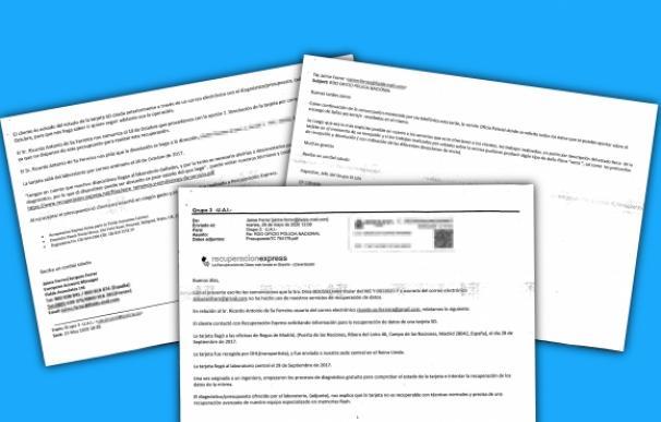 Los correos intercambiados entre la Policía y Recuperación Express. / LI .