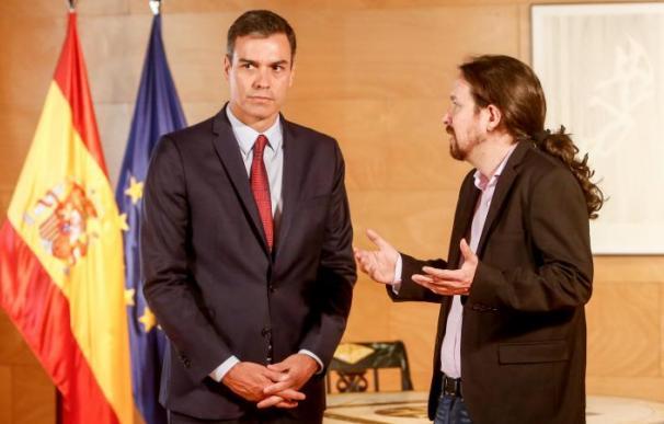 Pedro Sánchez y Pablo Iglesias en La Moncloa