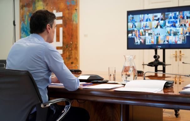 El presidente del Gobierno, Pedro Sánchez, en la videoconferencia con las CCAA.