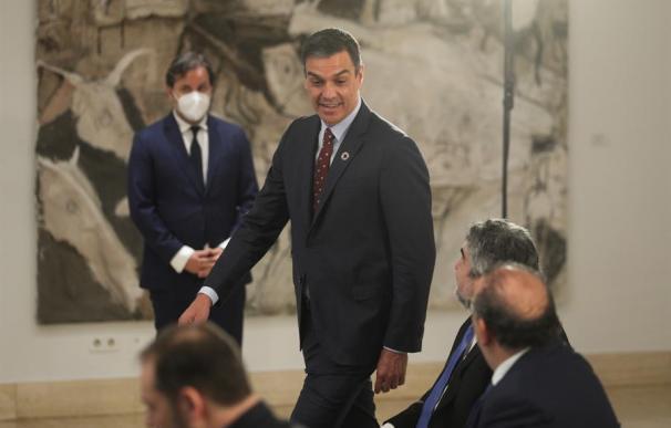 El presidente del Gobierno, Pedro Sánchez, en la presentación del rescate al turismo