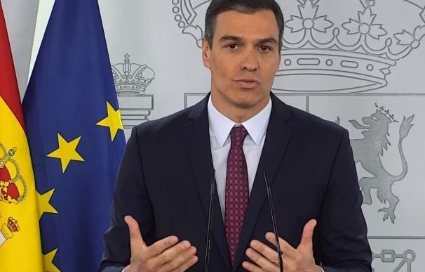 Pedro Sánchez, presidente del Gobierno, en la comparecencia de este sábado.
